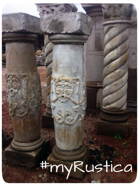 hand carved architectural cantera stone columns from Mexico