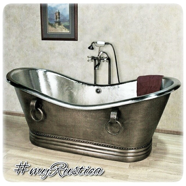 copper bathtubs hammered as grand slipper soaking, free standing and drop-in designs in modern, country farmhouse, old European Spanish, and Mexican hacienda bathroom style