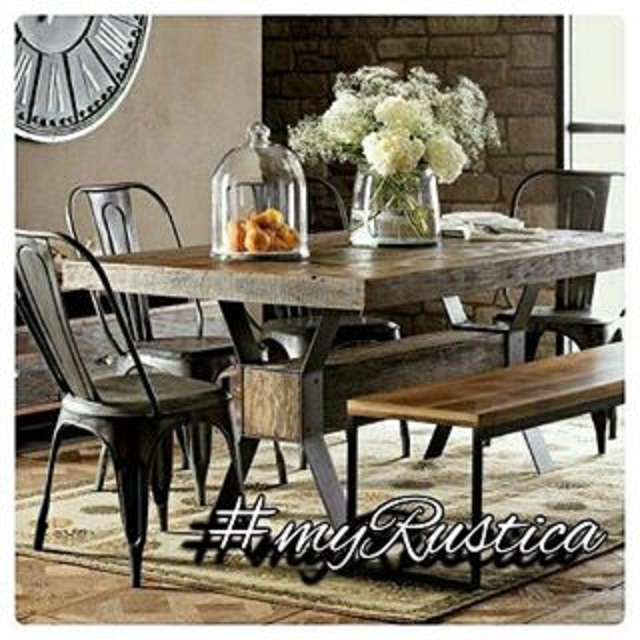 furniture including hammered copper tables and handmade zinc table-tops for furnishing rustic style dining rooms